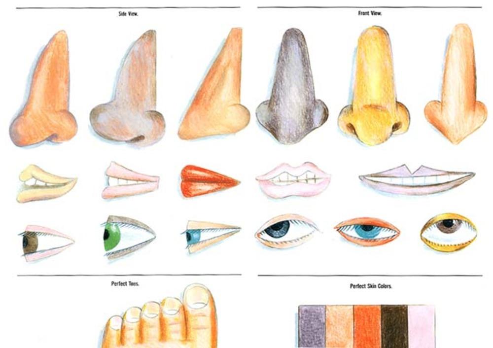 Large nose eyes lips feet