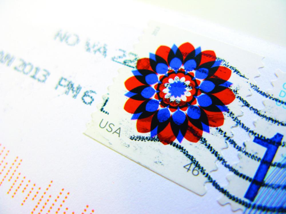 Large usps stamp kapitza closeup