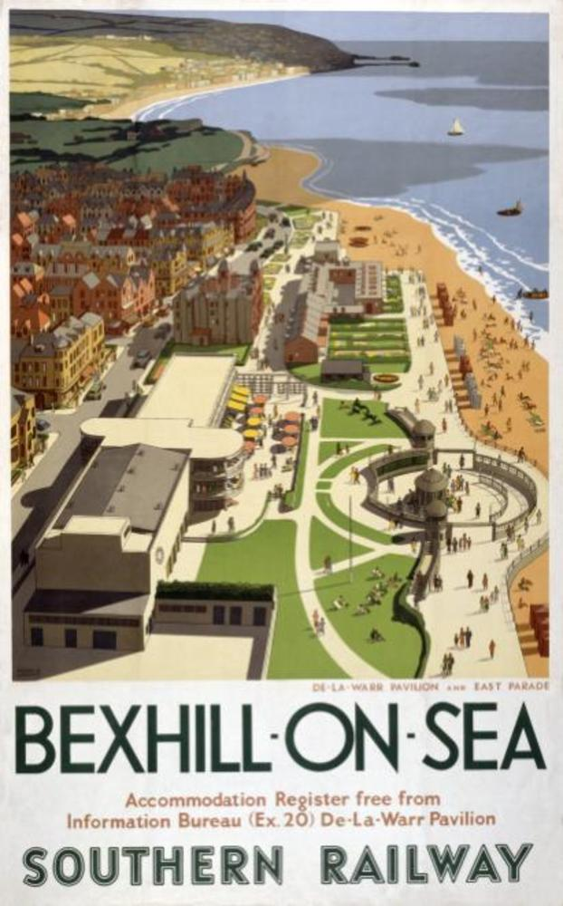 Large bexhill on sea sussex. vintage southern railway travel poster by ronald lampitt. 1947 550 p  1