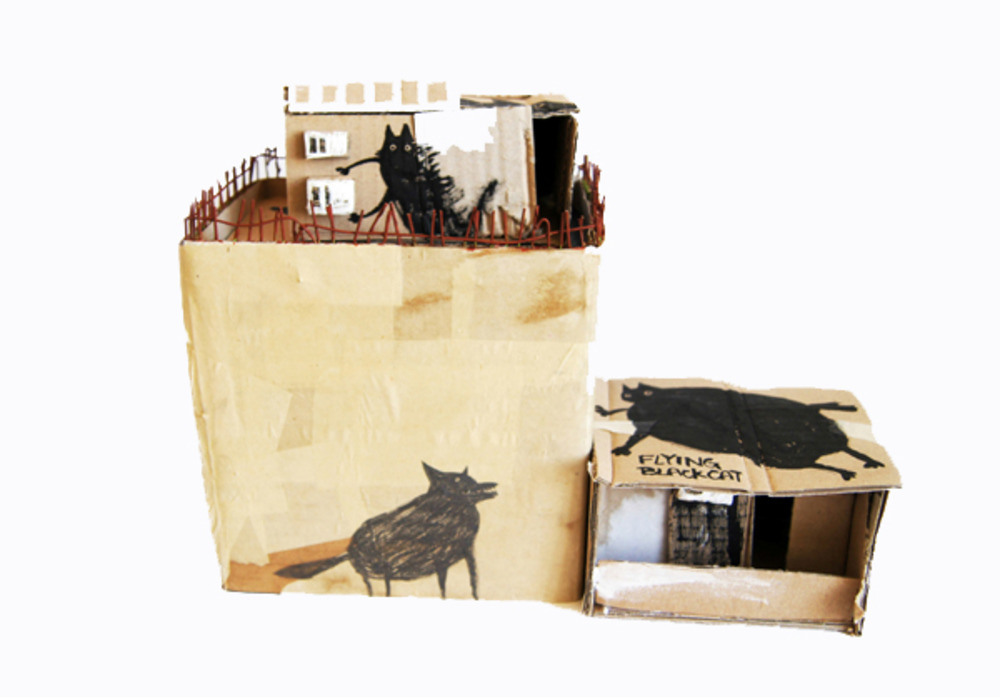 Large animal on the house  paper and cardboard  2013