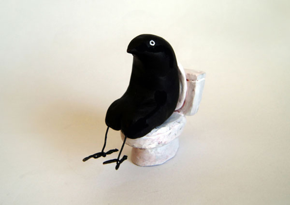 Large toilet crow  clay  2013