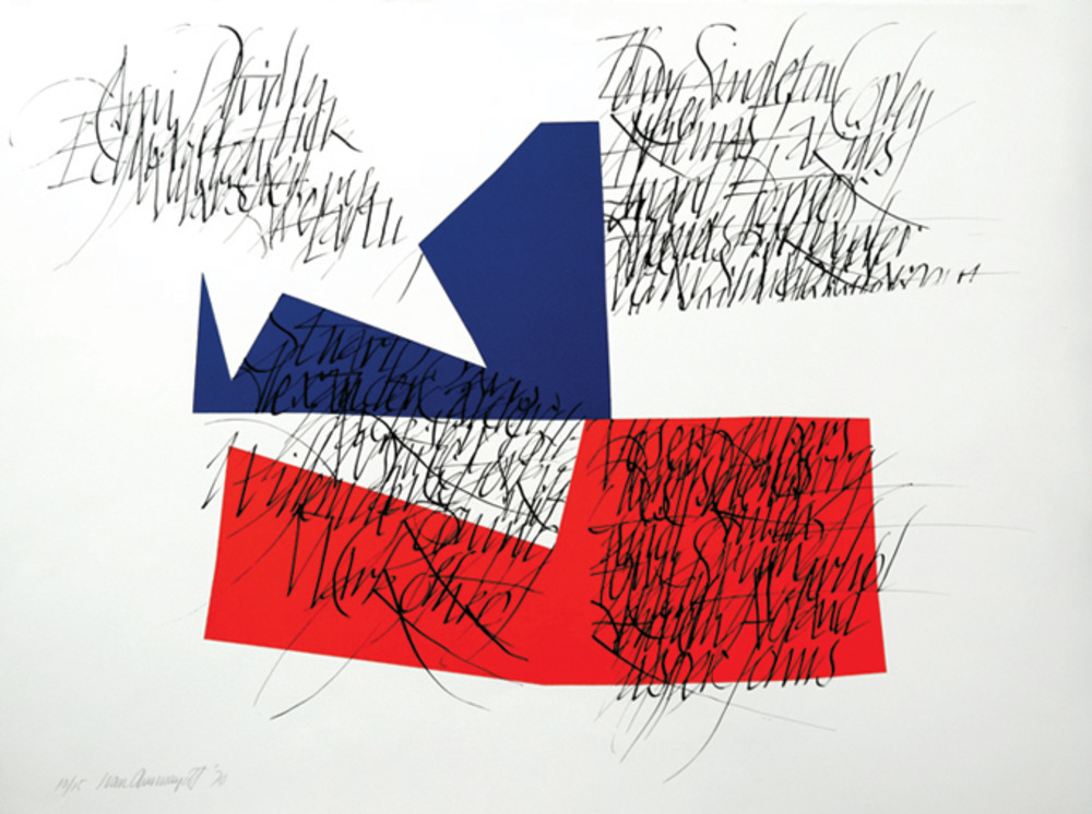 Large american flag lithograph