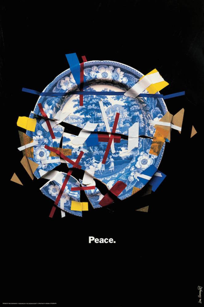 Large peace fragile world  shoshin society poster 1985