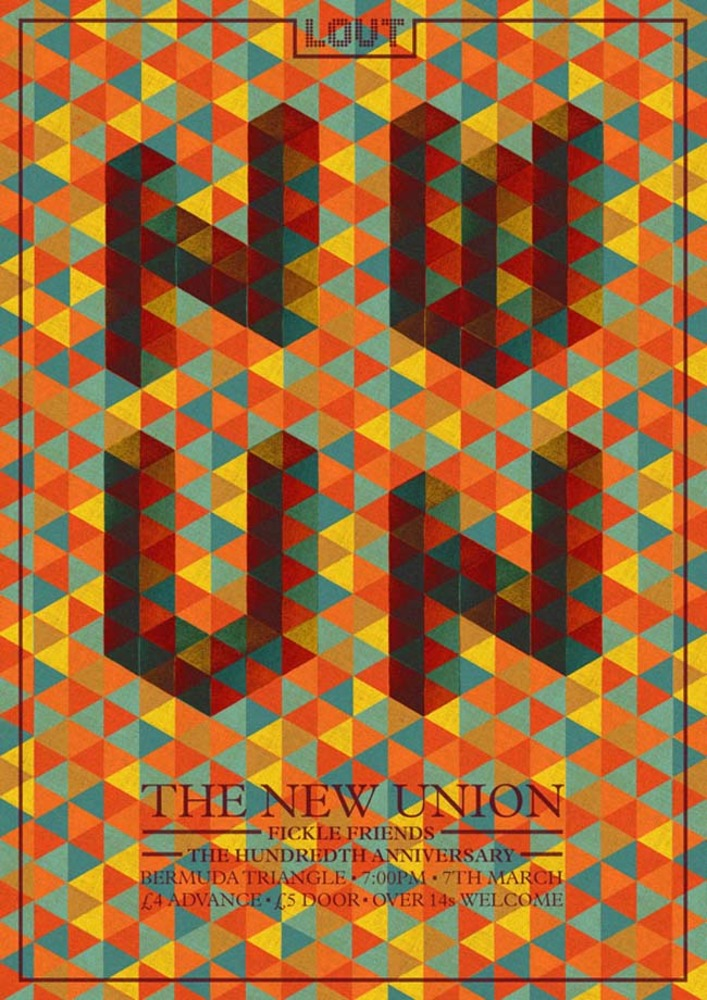 Large the new union gig poster. 2014. pencil and digital.