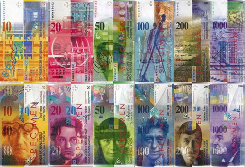 Large banknotes of swiss