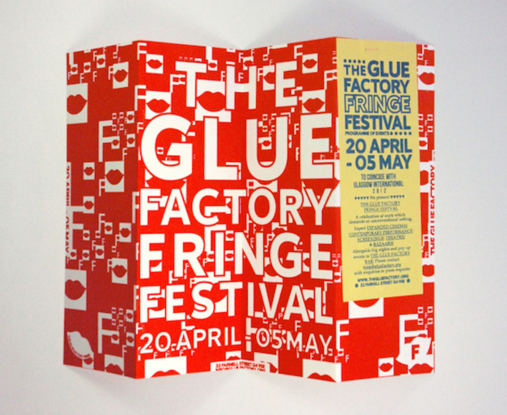 Large oona brown glue factory gi fringe festival programme outside